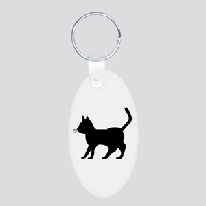 Shadow Cat Aluminum Oval Keychain